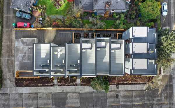 Overhead Aerial View of the Roof Decks of the Walden Townhomes