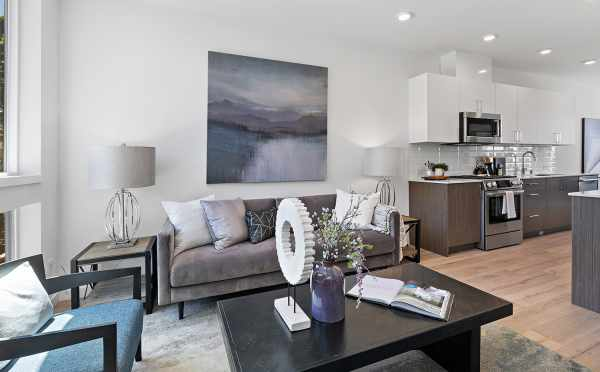 Living Room and Kitchen at 212B 18th Ave, One of the Amber Homes in the Cabochon Collection
