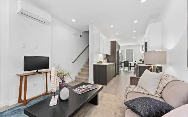 View from the Living Room to the Kitchen and Dining Room at 212E 18th Ave in the Cabochon Collection