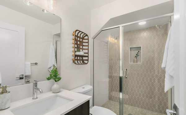 Owner's Suite Bath at 1419 E Harrison St., One of the Mika Townhomes in Capitol Hill