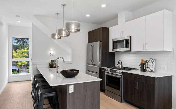 Kitchen at 6415 14th Ave NW, One of the Oleana Townhomes in Ballard by Isola Homes