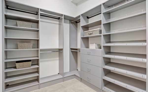 Master Closet in a New Home in Kirkland, WA