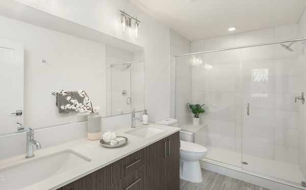 Owner's Suite Bathroom at 6539F 4th Ave NE, One of the Bloom Townhomes in Green Lake