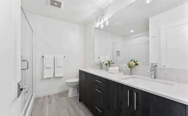 Owner's Suite Bath at 6415 14th Ave NW, One of the Oleana Townhomes in Ballard