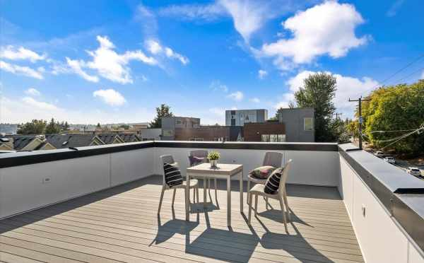 Roof Deck at 6421 14th Ave NW, One of the Oleana Townhomes in Ballard by Isola Homes