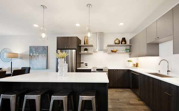 Kitchen with Stainless Steel Appliances in One of the Twin II Duplexes
