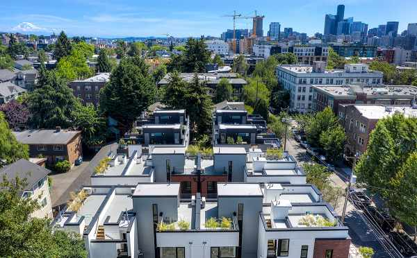 Aerial View of the Core 6.1 Townhomes, Seattle, and Mt. Rainier