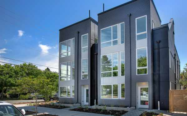 Exterior View of the Kai Townhomes Along NW 62nd St in Ballard