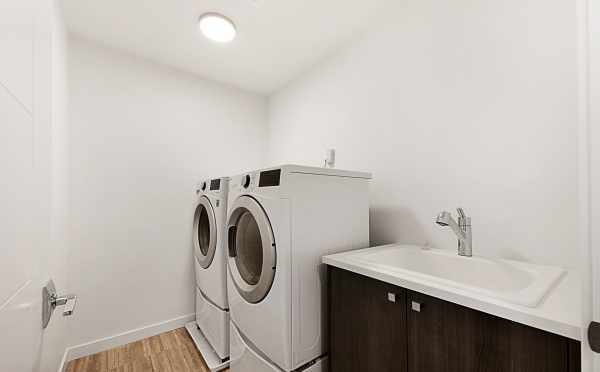Laundry Room in One of the Twin I Townhomes in East Queen Anne, Seattle