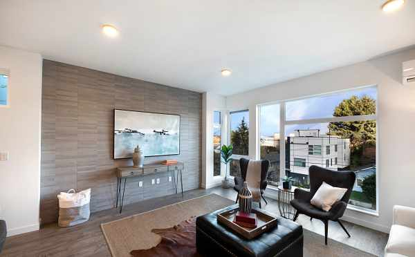 Tiled Accent Wall in the Living Room of One of the Twin II Duplexes
