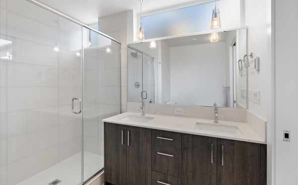 Owner's Suite Bathroom at 6313C 9th Ave NE in Zenith Towns West by Isola Homes