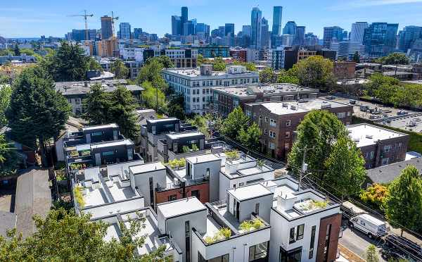 Aerial View of the Core 6.1 Townhomes and Seattle