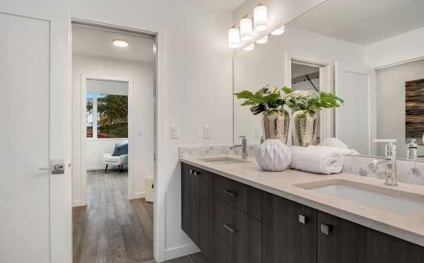 View from Master Bath to Master Bedroom of Unit 408A at Oncore Townhomes in Capitol Hill