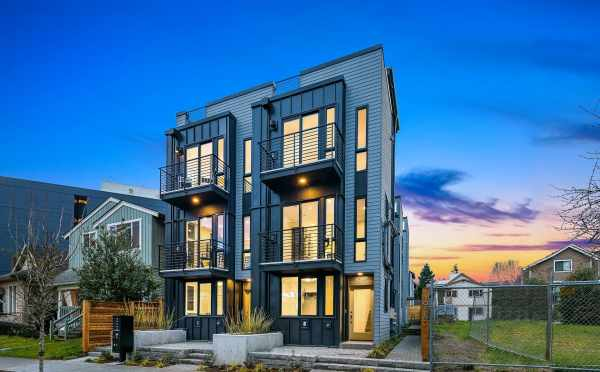 Exterior View of the Thalia Townhomes at Dusk