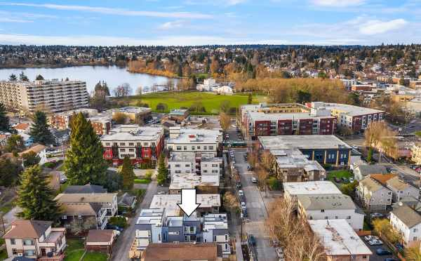 Aerial View of the Bloom Townhomes and Green Lake