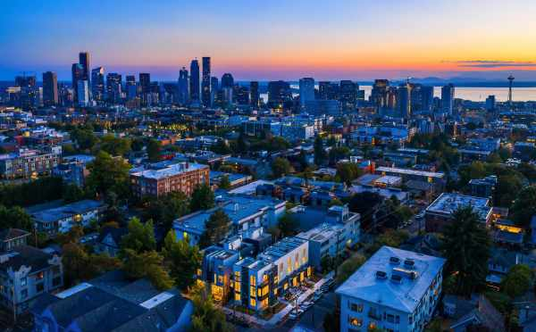 Aerial View of the Mika Townhomes and Downtown Seattle