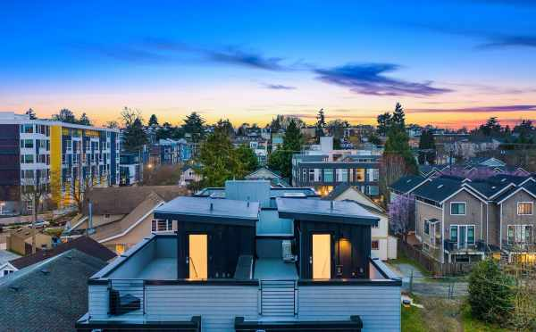Aerial View of the Roof Decks of the Thalia Townhomes in Capitol Hill by Isola Homes