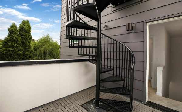 Spiral Staircase to the Roof Deck at 5111F Ravenna Ave Ne