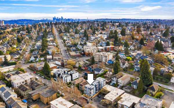 Aerial View of the Bloom Townhomes and Downtown Seattle