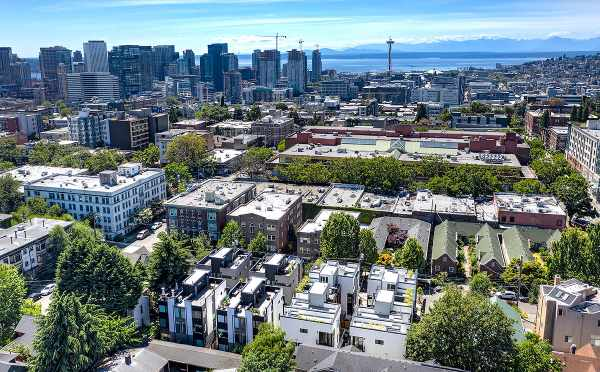 Aerial View of the Core 6.1 Townhomes and the Sound