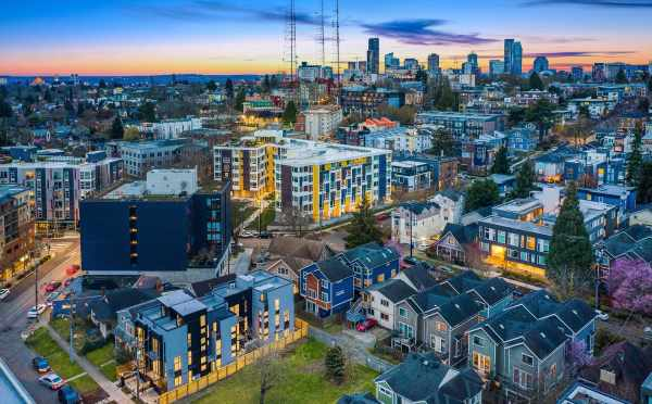 Aerial View of the Thalia Townhomes and Downtown Seattle