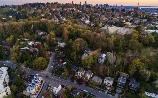 Aerial View of the Baymont Townhomes and Downtown Seattle