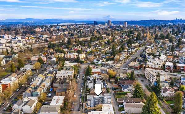 Aerial View of the Bloom Townhomes and Mt. Rainier