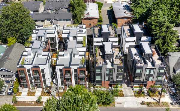 Aerial View of the Core 6.1 and Core 6.2 Townhomes by Isola Homes