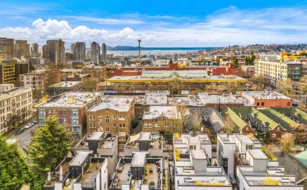 Aerial View of the Roof Decks of Core 6.2 in Capitol Hill and the Sound