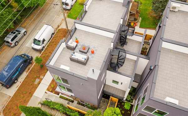 Aerial View of the Roof Decks at 5111F Ravenna Ave NE