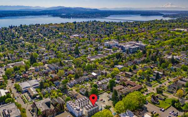 Aerial View Showing Avani Townhomes in Relation to Lake Washington