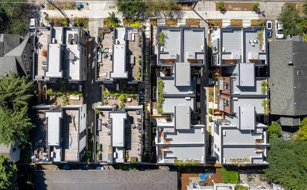 Overhead View of the Roof Decks at the Core 6.1 Townhomes in Capitol Hill