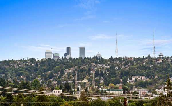 Views of Queen Anne Hill and Peeks of Downtown from the Roof Deck of 6415 14th Ave NW, One of the Oleana Townhomes