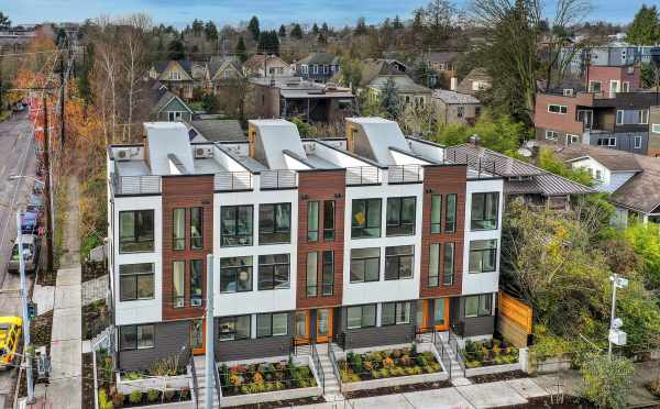 Aerial View of the Front of the 6 Central Townhomes by Isola Homes