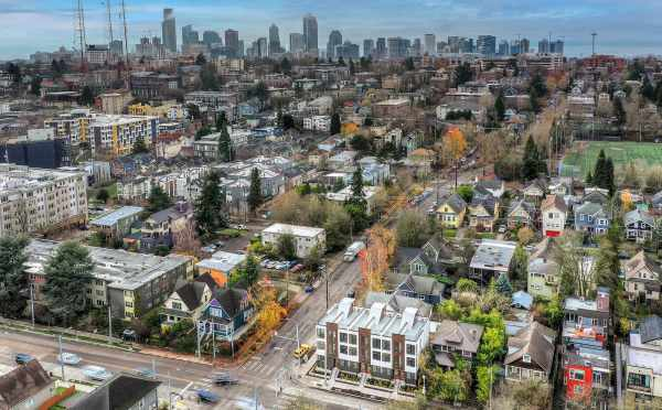Aerial View of the 6 Central Townhomes and Downtown Seattle