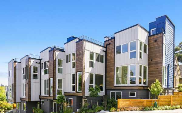Exterior of the Baymont Townhomes, by Isola Homes, at Everett and Boyer in Montlake