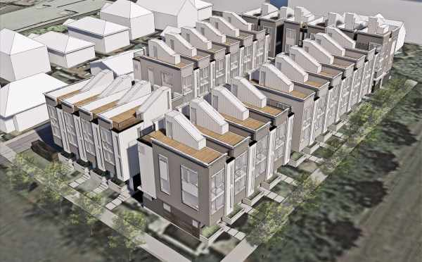 Aerial Rendering of the Corazon Townhomes