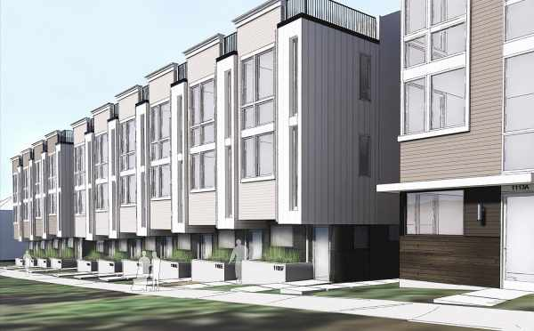 Rendering of the Corazon Townhomes Looking Down 14th Ave