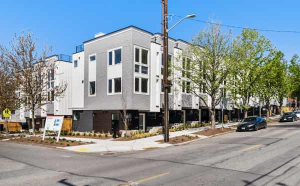 Exterior of the Corazon Central Townhomes in Capitol Hill by Isola Homes