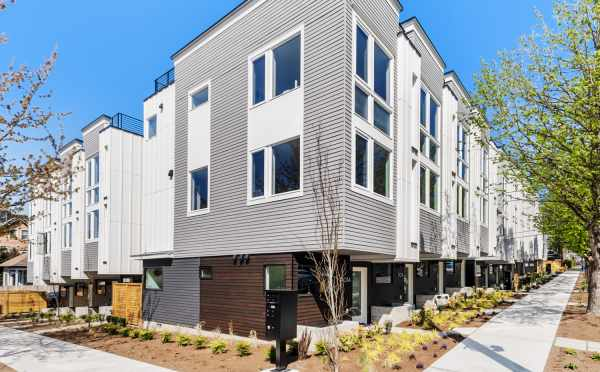 Exterior of the Corazon North Townhomes in Capitol Hill by Isola Homes