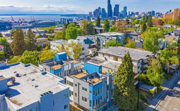 View of Hawk's Nest Townhomes with Downtown Seattle in the Background
