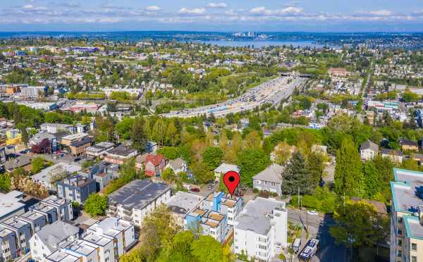 Aerial View of the Hawk's Nest Townhomes, Showing Them in Relation to the Highway, Lake Washington, and Downtown Bellevue