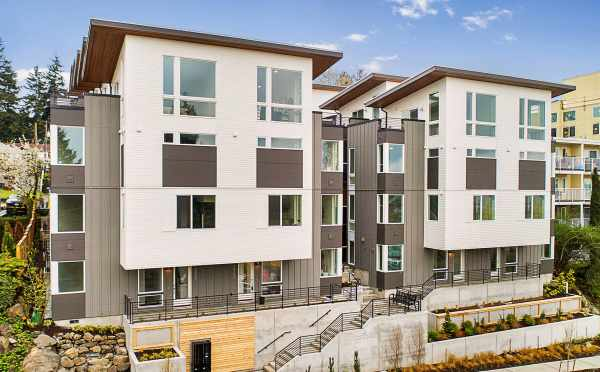 View of Isla Townhomes, by Isola Homes, Located at 3062 SW Avalon Way in West Seattle