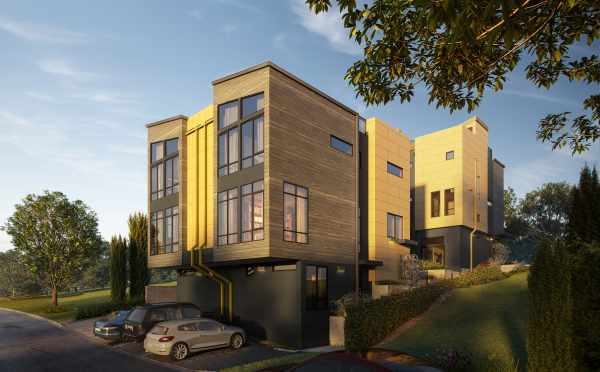 Rendering of the Back of the Lochlan Townhomes in Crown Hill