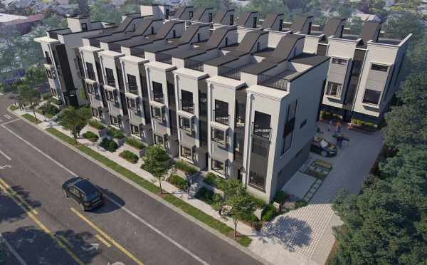 Rendering of the Aerial View of The Peaks at Phinney Ridge by Isola Homes