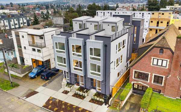 Aerial Exterior View of the Townhomes of Sunstone at Fremont by Isola Homes