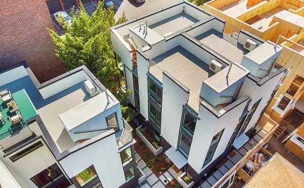 Drone View of the Decks of The Wyn Townhomes