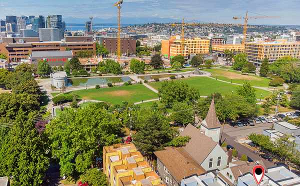 Aerial View of The Wyn Townhomes with Downtown Seattle and the Sound