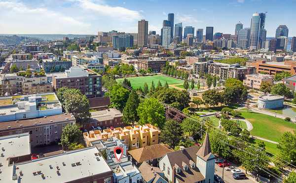 Aerial View of The Wyn Townhomes with Downtown Seattle