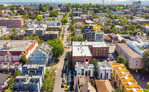 Aerial View of The Wyn Townhomes Looking East
